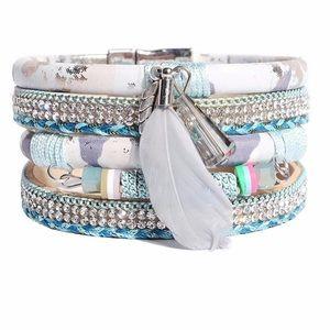 BOGO SALE BOHO Funky Wrap Bracelet w/ Feather